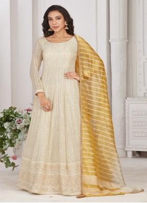 Gleaming  Chiffon Satin Designer Gown