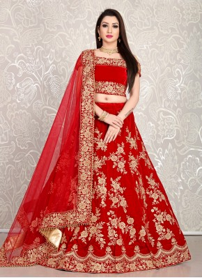 Gleaming Red Bollywood Lehenga Choli