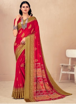 Gleaming Red Festival Classic Saree