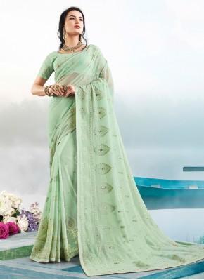 Gleaming Resham Faux Georgette Green Classic Saree