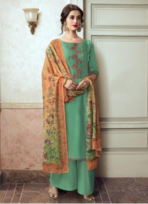 Glitzy Embroidered Georgette Satin Designer Pakistani Suit