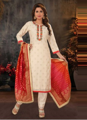 Glitzy Embroidered Poly Silk Cream Readymade Suit