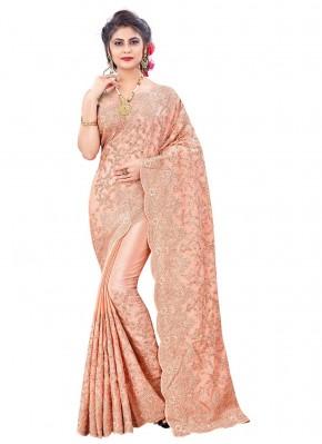 Glitzy Peach Resham Faux Chiffon Designer Saree
