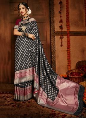 Glitzy Silk Woven Black Traditional Saree
