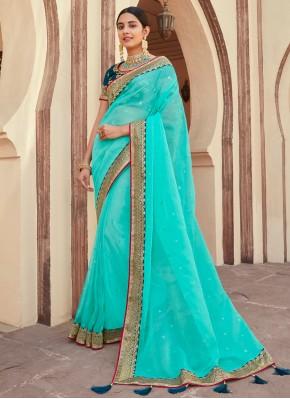 Glitzy Turquoise Festival Classic Designer Saree