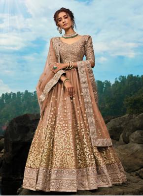 Glorious Brown Net Lehenga Choli