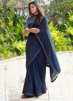 Glorious Cotton Printed Navy Blue Contemporary Saree