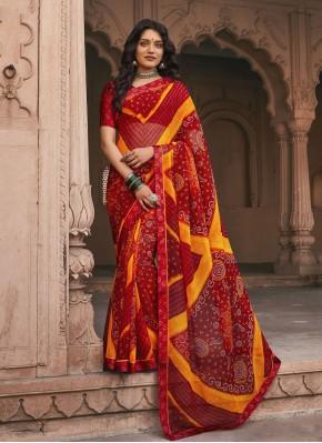 Glorious Faux Georgette Multi Colour Saree