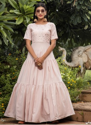 Glossy Cotton Floor Length Gown