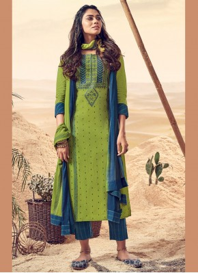 Glossy Embroidered Polly Cotton Green Salwar Suit
