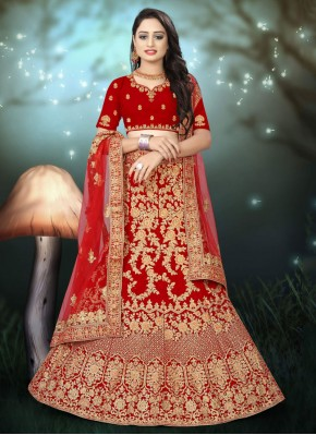 Glossy Embroidered Velvet A Line Lehenga Choli