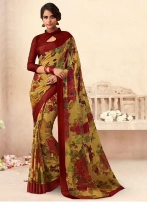Glossy Floral Print Faux Chiffon Saree