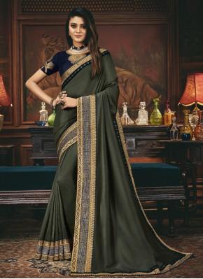 Glossy Grey Patch Border Silk Designer Traditional Saree