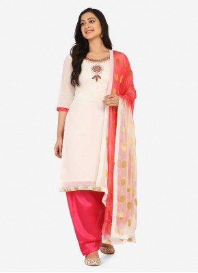 Glossy Off White Embroidered Blended Cotton Patiala Suit