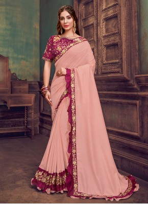 Glossy Resham Pink Traditional Saree