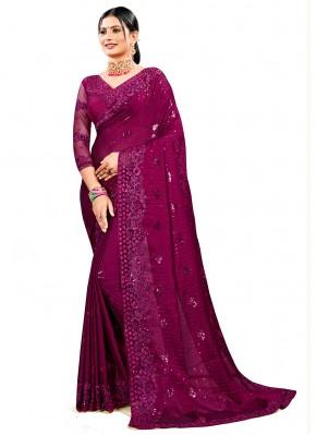 Glossy Wine Resham Designer Saree