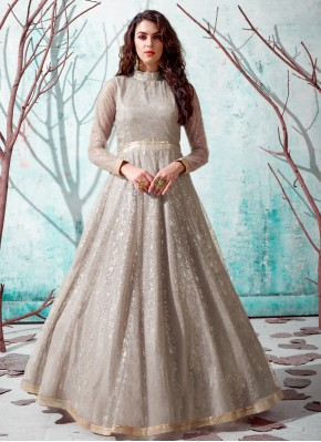 Glowing Beige Festival Designer Gown