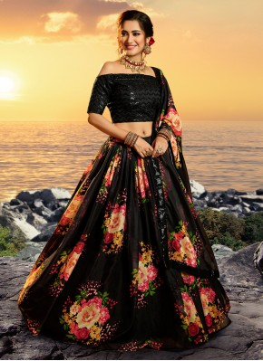 Glowing Black Organza Lehenga Choli