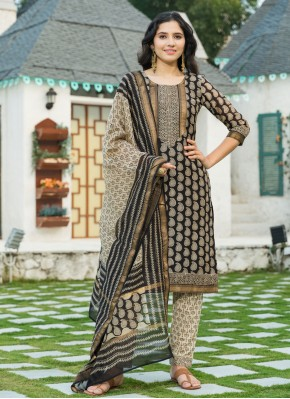 Glowing Chanderi Black Trendy Salwar Suit