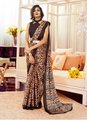 Glowing Faux Crepe Brown Printed Contemporary Saree