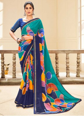 Glowing Multi Colour Abstract Print Traditional Saree