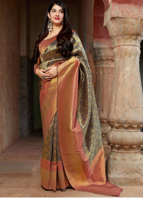 Glowing Multi Colour Reception Traditional Saree