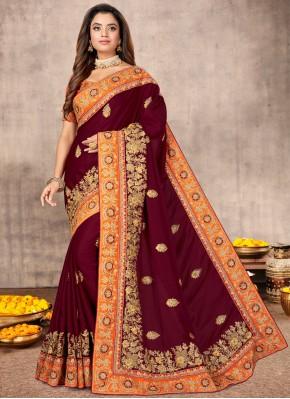 Glowing Satin Wine Resham Traditional Designer Saree