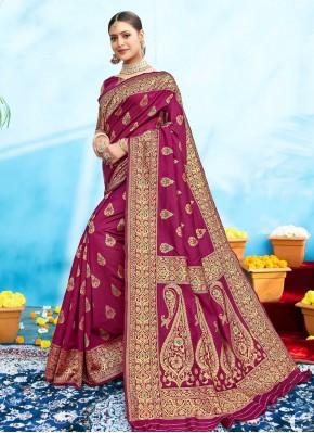 Glowing Silk Magenta Traditional Designer Saree