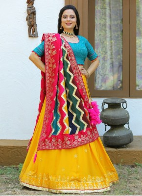 Gold, Multi Colour and Yellow Chiffon Bollywood Style Lehenga Choli for Navratri