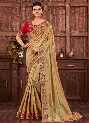Gold Poly Silk Ceremonial Designer Saree
