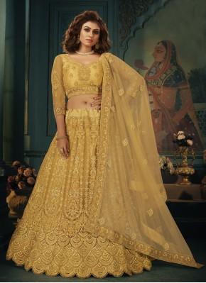 Gold Stone Net Lehenga Choli