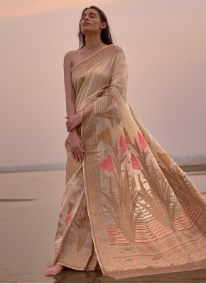 Gold Weaving Linen Trendy Saree