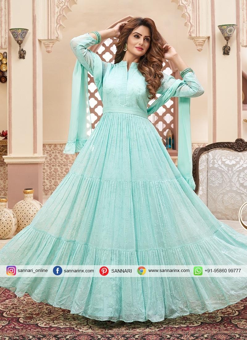 Gorgonize Chiffon Satin Lucknowi work Indo Western Style Suit