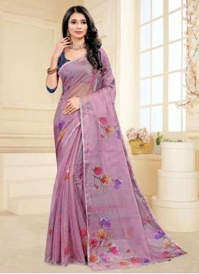 Gorgonize Purple Printed Saree