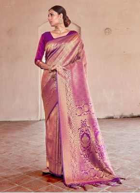 Gorgonize Purple Weaving Traditional Saree