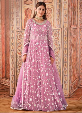 Gorgonize Thread Net Pink Floor Length Designer Suit