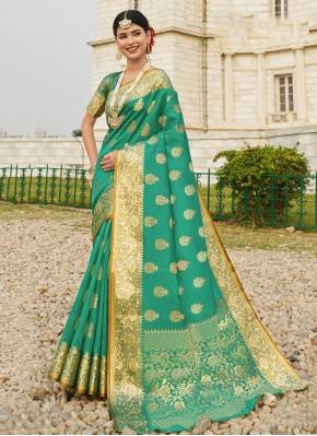 Gorgonize Woven Silk Sea Green Designer Traditional Saree