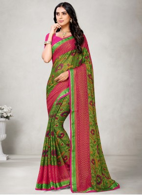Graceful Abstract Print Fancy Fabric Green Printed Saree