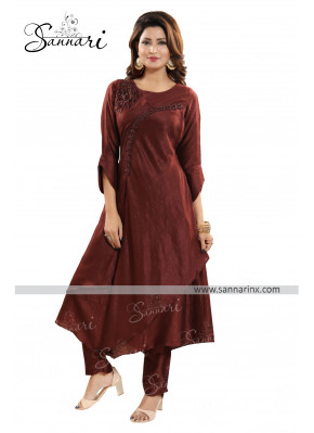 Graceful Art Silk Cutdana Work Churidar Suit