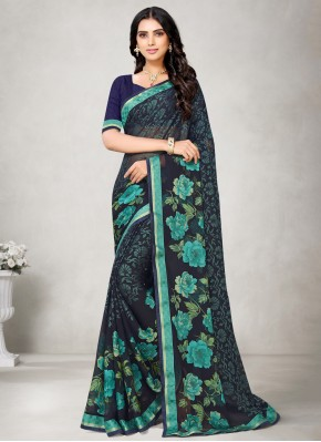 Graceful Fancy Fabric Abstract Print Blue Printed Saree