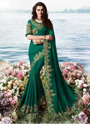 Graceful Satin Silk Green Resham Traditional Saree
