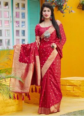 Graceful Silk Red Trendy Saree