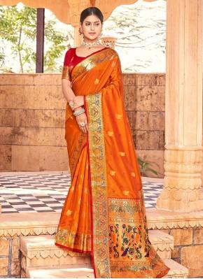 Graceful Weaving Handloom silk Mustard Designer Traditional Saree