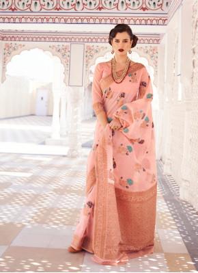 Graceful Weaving Print Chanderi silk Banarasi silk Saree
