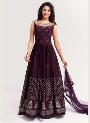 Graceful Wine Chinon Anarkali Suit