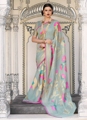 Graceful Woven Linen Classic Designer Saree