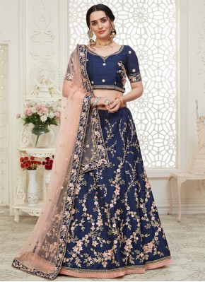Grandiose Embroidered Navy Blue A Line Lehenga Choli