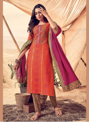 Grandiose Orange Readymade Salwar Kameez