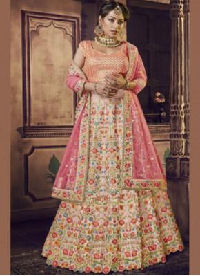 Grandiose Raw Silk Embroidered Pink Lehenga Choli