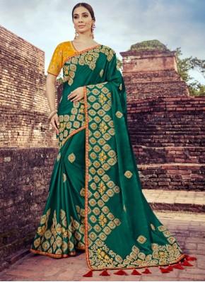 Gratifying Green Wedding Traditional Designer Saree
